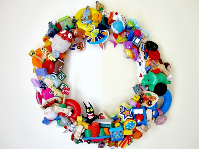 Recycled Toy Wreath