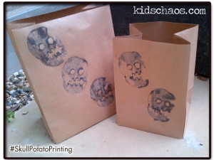 skull potato print party bags