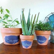 chalkboard painted flower pots