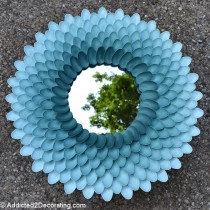 Plastic spoon crafts – flower mirror