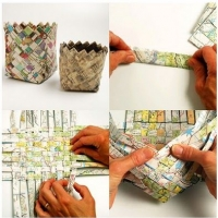 Upcycled map weaving