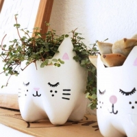 Plastic Bottle Crafts - Kitty Plant Pots