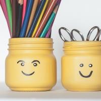 DIY LEGO Head Pencil Pots (Mason Jars)