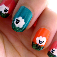 Spring Nail Art - Sheep