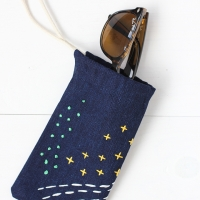 No sew embroidered sunglasses case
