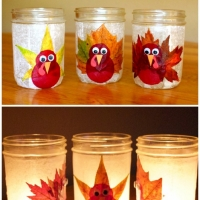 Thanksgiving Crafts - Turkey Leaf Lanterns