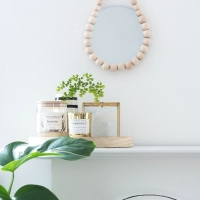Wooden Bead Mirror Frame