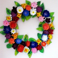 Egg Carton Flower Wreath