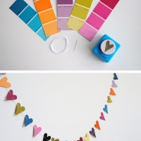 paint chip crafts - paper punch heart garland