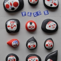 Pebbles with faces