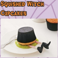 Squished witch cupcakes