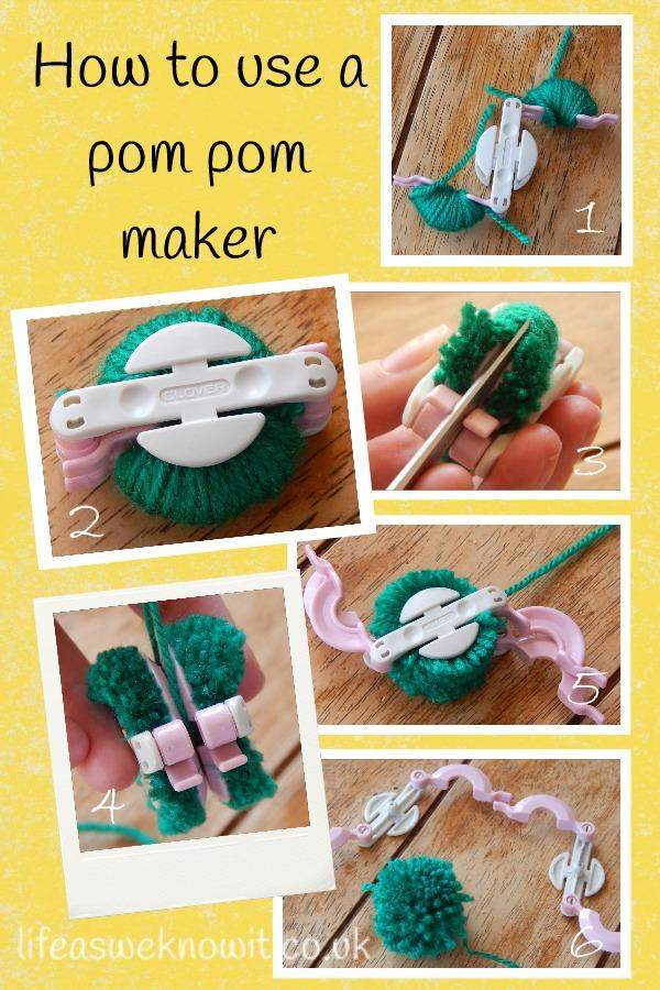 how to make pom poms using a pom pom maker fun crafts kids. Black Bedroom Furniture Sets. Home Design Ideas