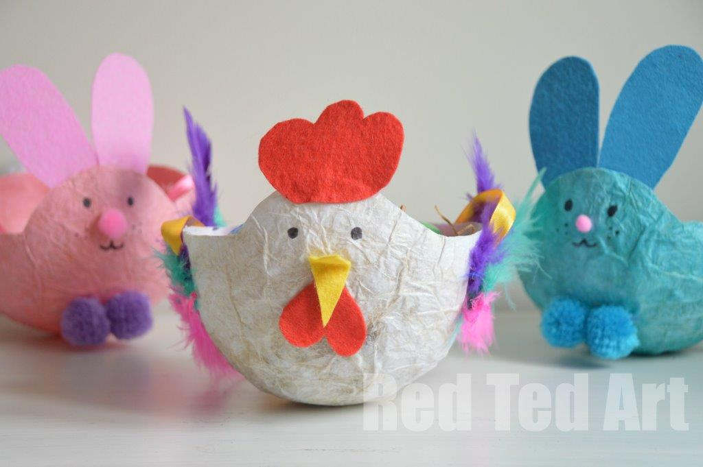 Easter-Craft-Basket-Tissue-Paper-Mache