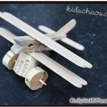 Wine Cork Crafts – Lolly stick airplane