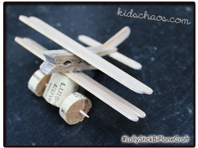Wine Cork Crafts – Lolly stick airplane