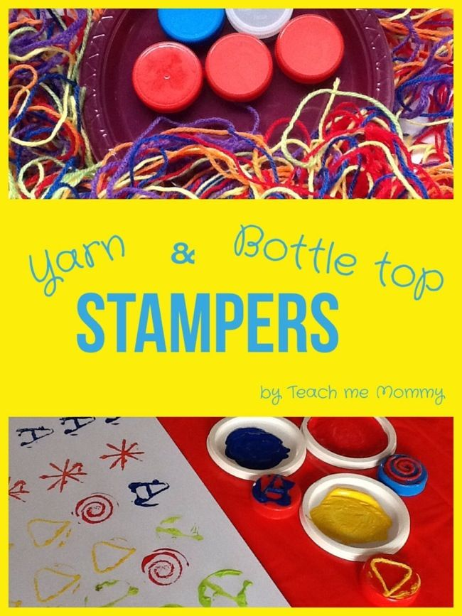 Crafts for Preschoolers: Yarn & Bottle Top Printing