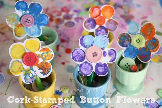 Crafts for Preschoolers: Cork Print Flowers