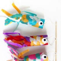TP Roll Crafts: Koinobori (Wind Socks!)