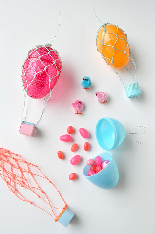 Plastic Egg Crafts: treat filled hot air balloon