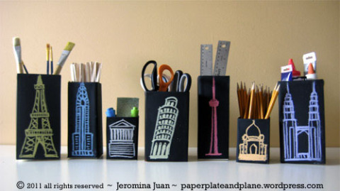 Juice Carton Crafts: Chalkboard City Scape