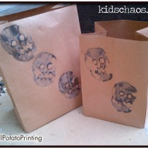 Skull potato print party bags