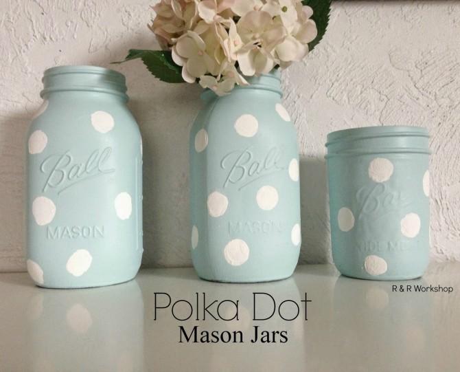 Polka dot mason jars