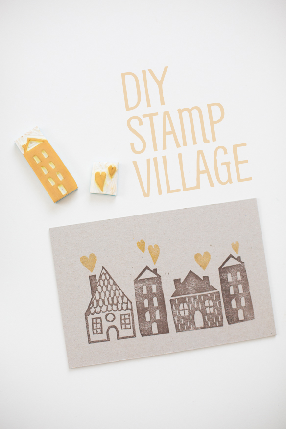 DIY stamp printed houses