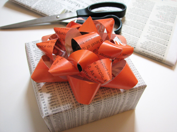 Gift bow made from old magazines