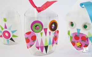 recycled plastic bottle owls
