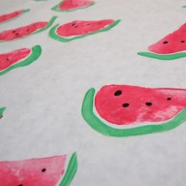 watermelon potato print wrapping paper