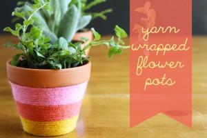 Yarn-Wrapped Flower Pots