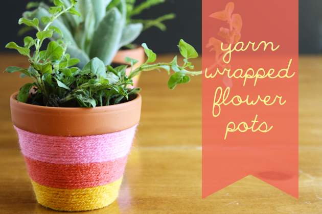 Yarn-Wrapped Flower Pots