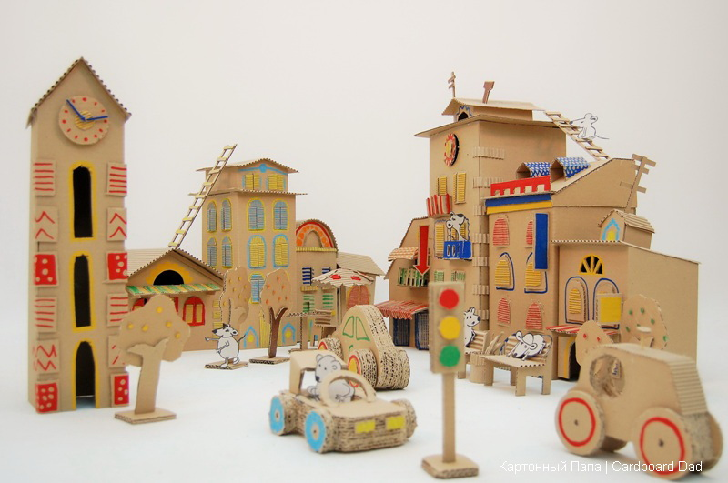 Cardboard box play city fun crafts kids for Things to make out of cardboard for kids