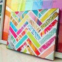 Magazine striped canvas collage