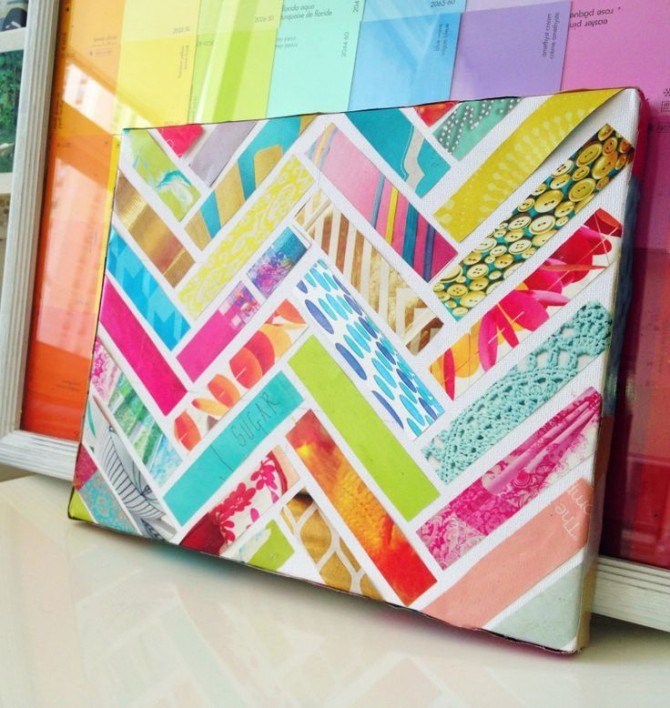 Magazine striped canvas collage