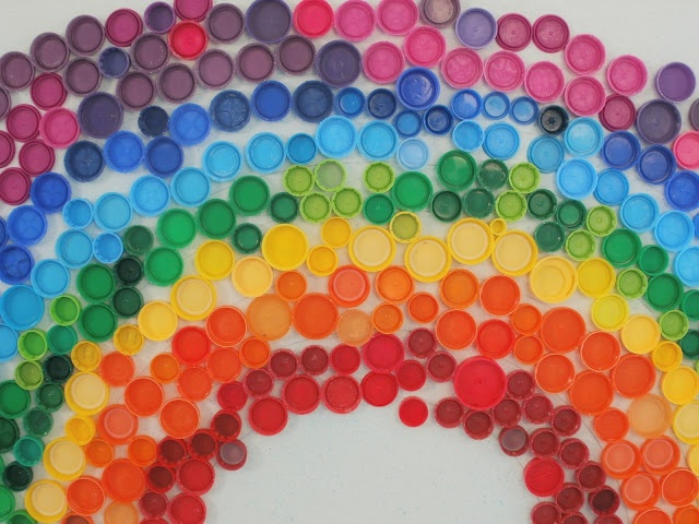 rainbow bottle caps