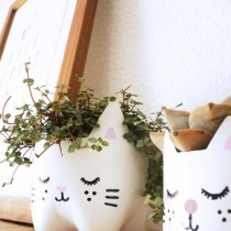 Plastic Bottle Crafts – Kitty Plant Pots