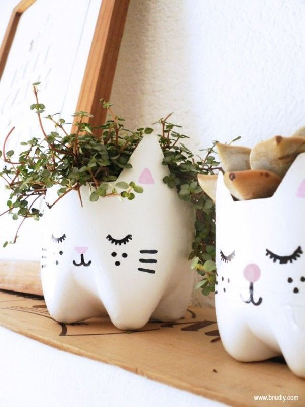 Plastic Bottle Crafts – Kitty Plant Pots