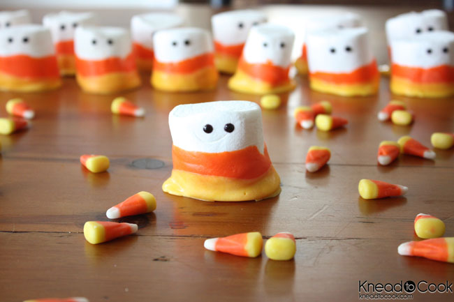 Candy Corn Marshmallow Monsters