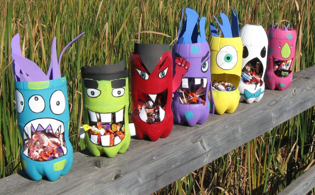 halloween crafts - monster bottles