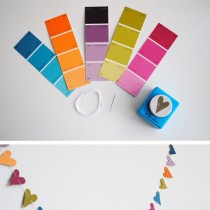 paint chip crafts – paper punch heart garland