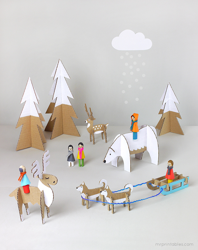 winter crafts - create this beautiful diy playset frm recycled materials