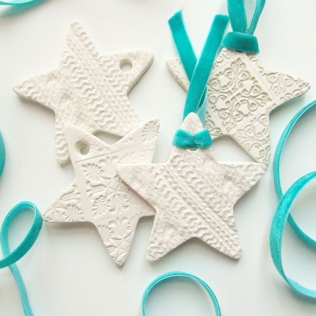 diy embossed clay stars ornaments