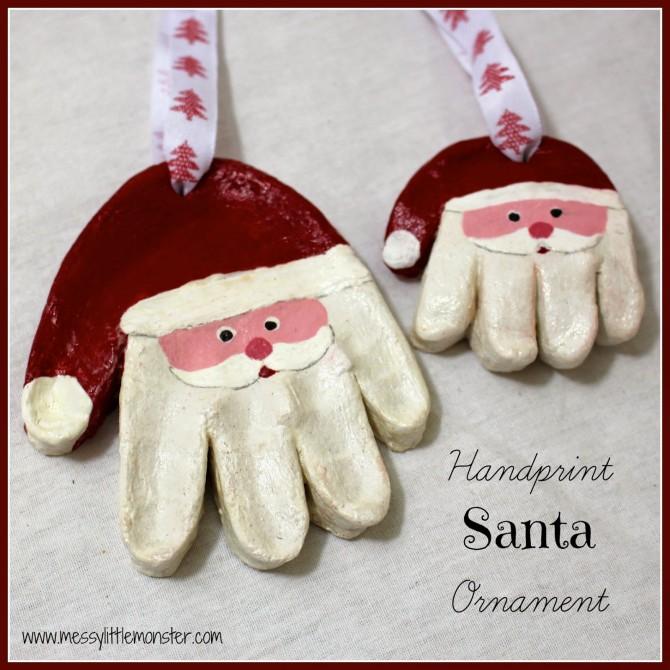 Salt Dough Ornaments – Santa Handprints