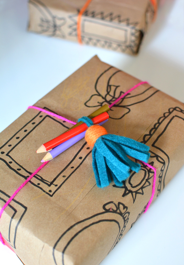 Recycled Paper Bag Gift Wrap Idea