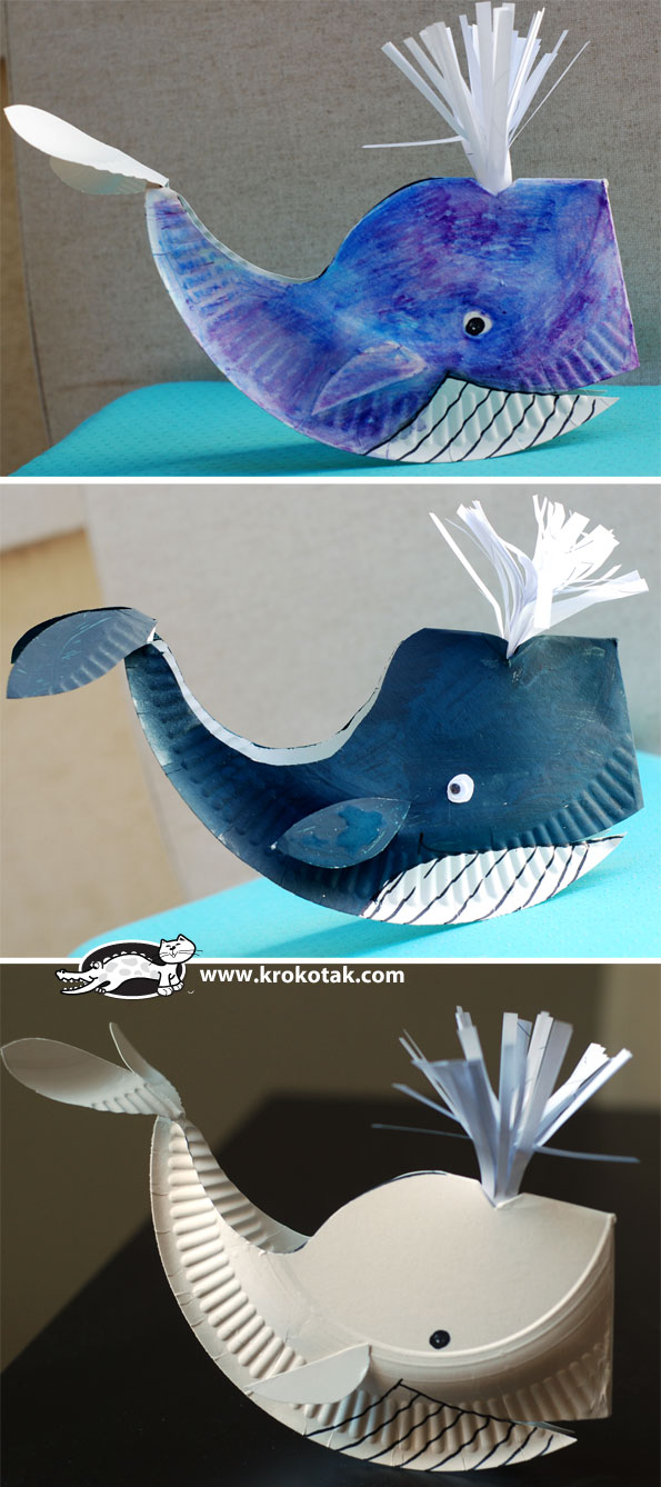 paper plate whale fun crafts kids