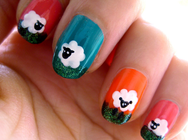 Spring Nail Art - Sheep - Fun Crafts Kids