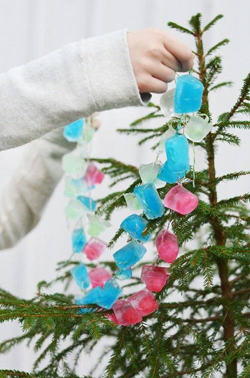 winter activities - ice garland fun