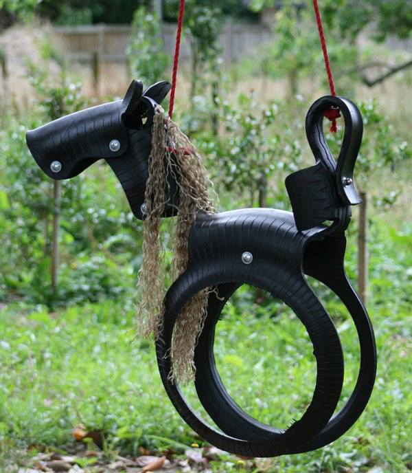 Diy tyre horse swing fun crafts kids for Cool things made out of horseshoes