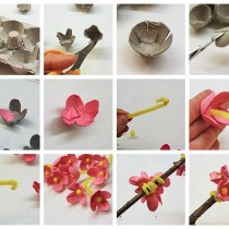 Egg Carton Cherry Blossom Craft